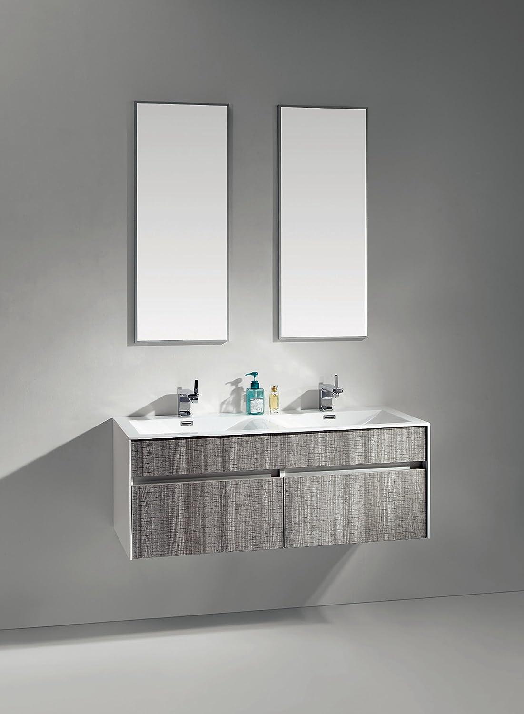 InterougeHome Badmöbel-Set aus Holz mit Doppel-Waschtisch mit LED-Beleuchtung im Inneren aus Holz, grau meliert-Unterschrank Waschtisch-Schale-Wandspiegel, 2 Abflusslöcher, 2 und 4 Aufsätzen flexible gratis