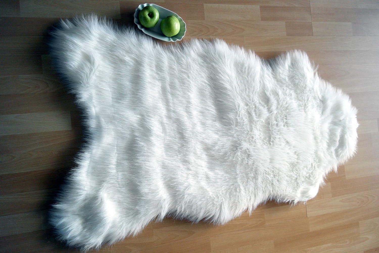 Flokati-Stil Kunstfell Lammfell Hochflor Shaggy Teppich Ameiny Eisbär - Kuschelweich in bunten Farben (140 cm x 200 cm, Weiß Natur)