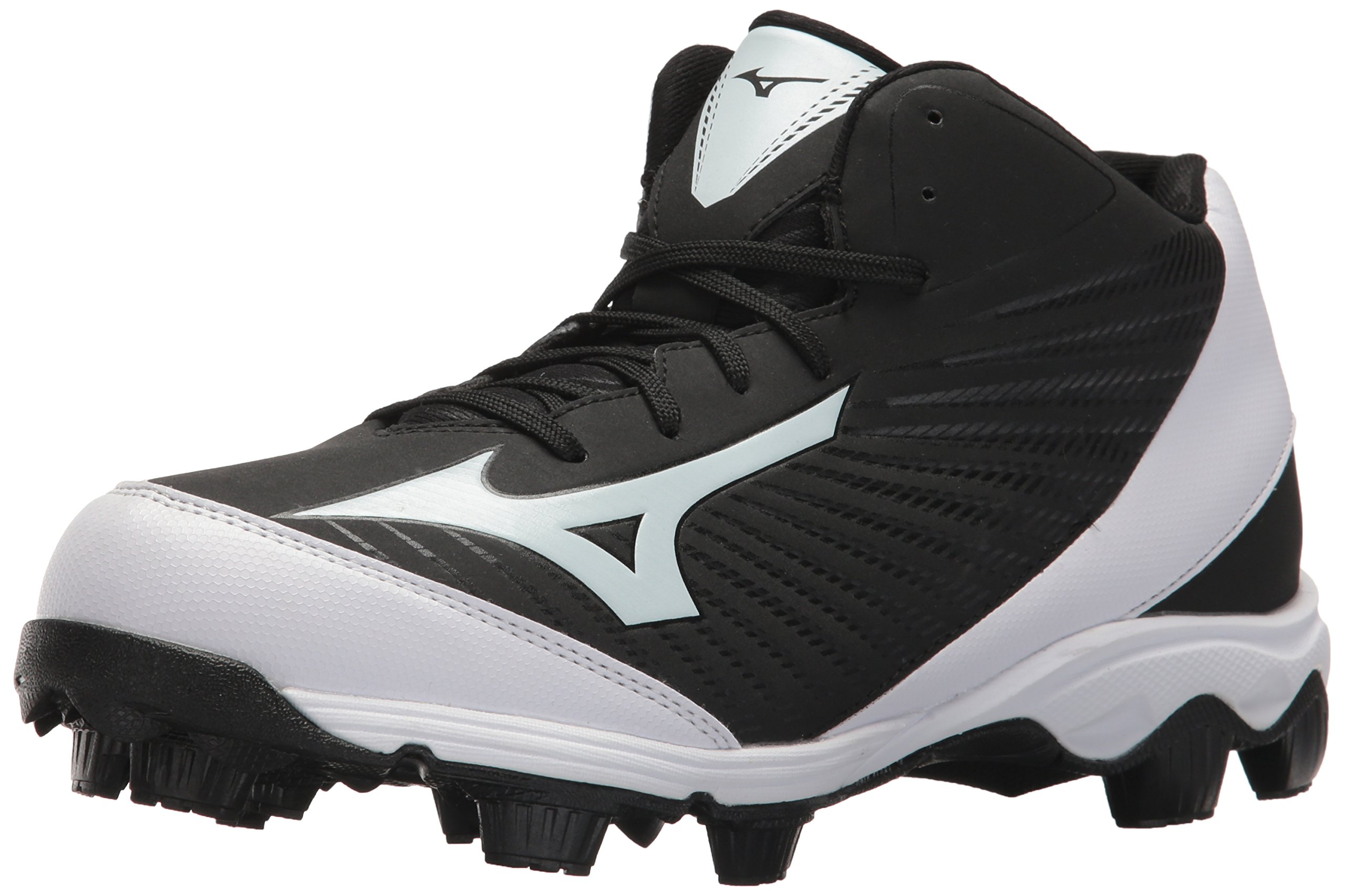 Mizuno Men's 9-Spike Advanced Franchise 9 Molded Cleat-Mid Baseball Shoe, Black/White, 10.5 D US