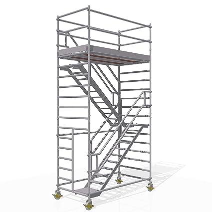 """Altec Escaleras Torre de aluminio altura 6,3 m gegenläufig """"fabricado en"""