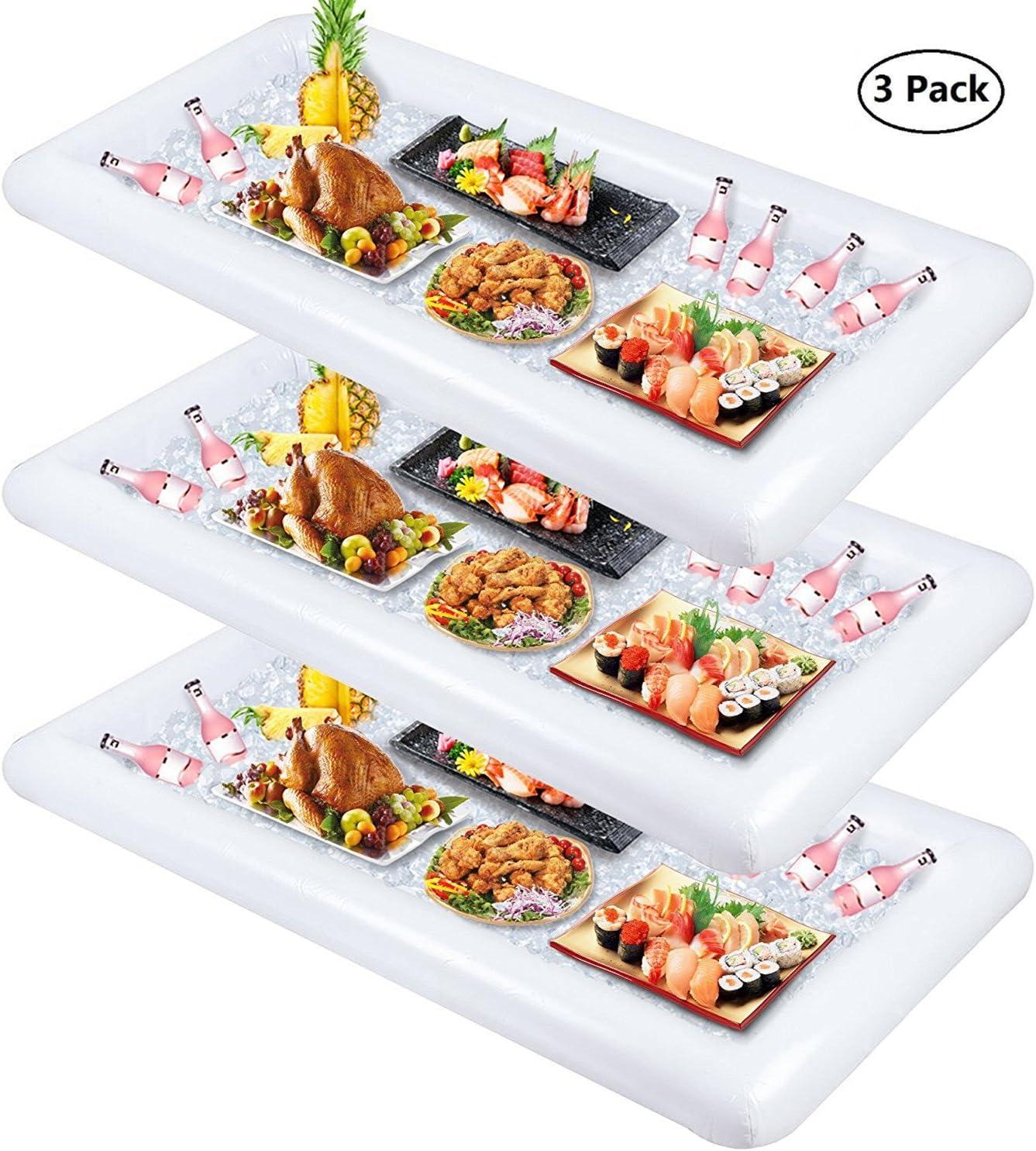 Wisdom - Juego de 3 bandejas hinchables para servir ensalada y hielo, contenedores para bebidas de alimentos, suministros para fiesta, buffet y luau, con tapón de drenaje para barbacoa, piscina de picnic: