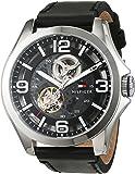 Tommy Hilfiger 1791279 Montre-bracelet de sport automatique sophistiquée Cadran analogique Pour homme Bracelet en cuir