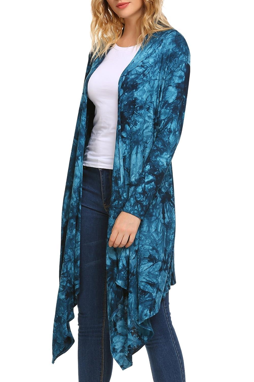 8836794119 Zeagoo Womens Long Sleeve Open Front Long Maxi Cardigan Waterfall  Asymmetric Draped Duster Coat AMH005385