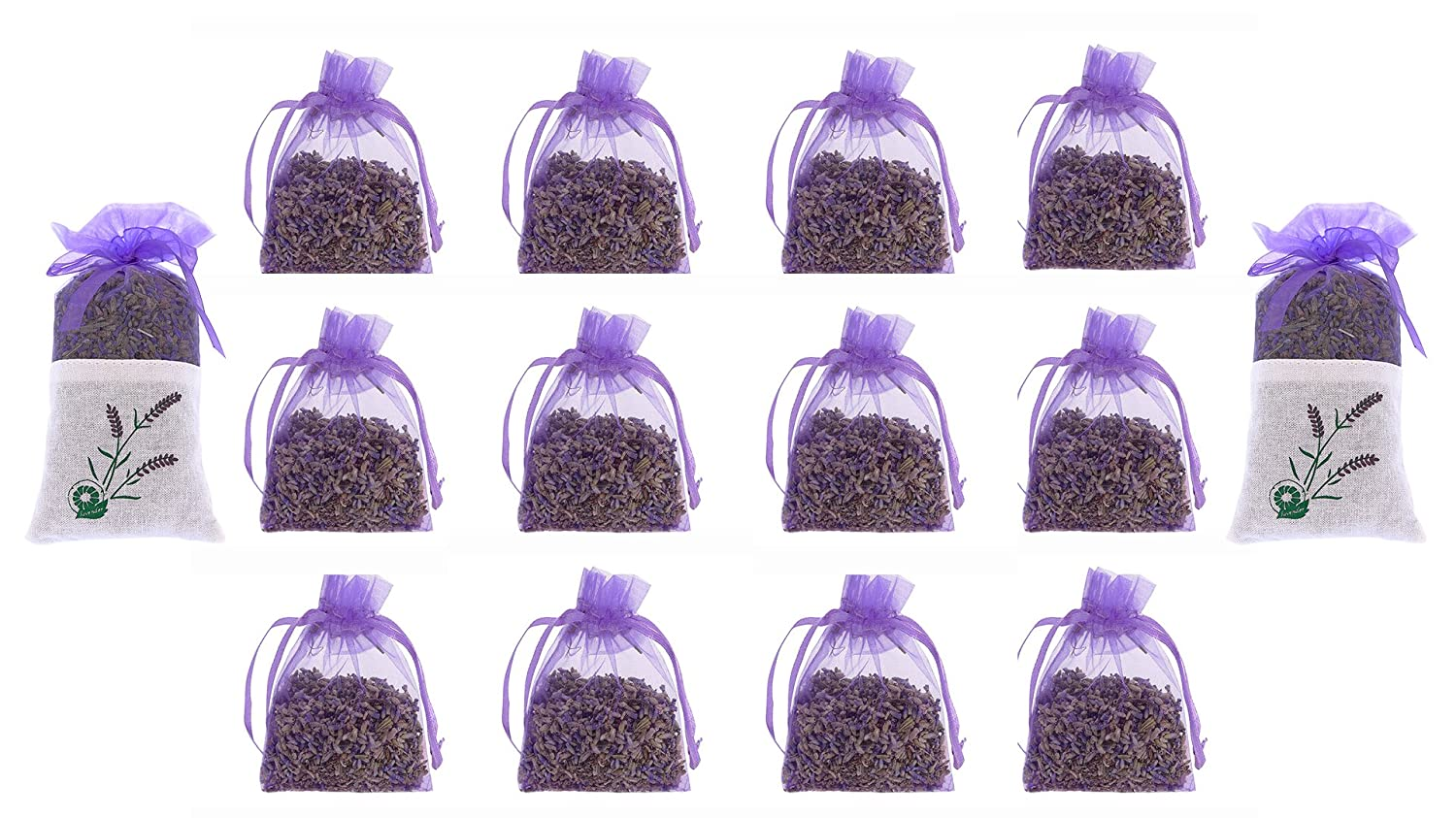 12 Pure Lavender Dry Flower 10 Grams Satchels plus 2 Pcs 20 Grams - Natural Scent Fragrance for Aromatherapy-Car-Closet-Drawers-Moths-Wardrobe The Ambient Collection