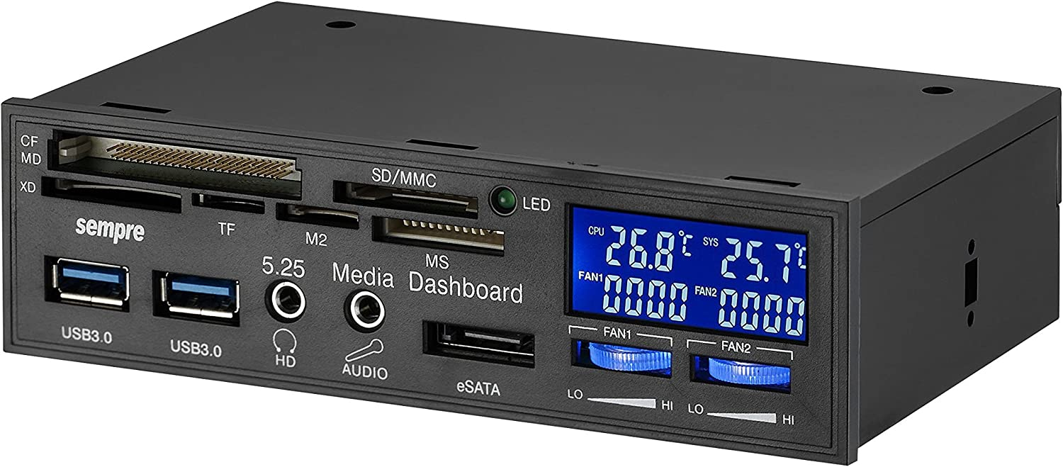 Sempre Mp 5u3lcd 5 25 Multi Front Panel Usb3 0 With 2 Computers Accessories