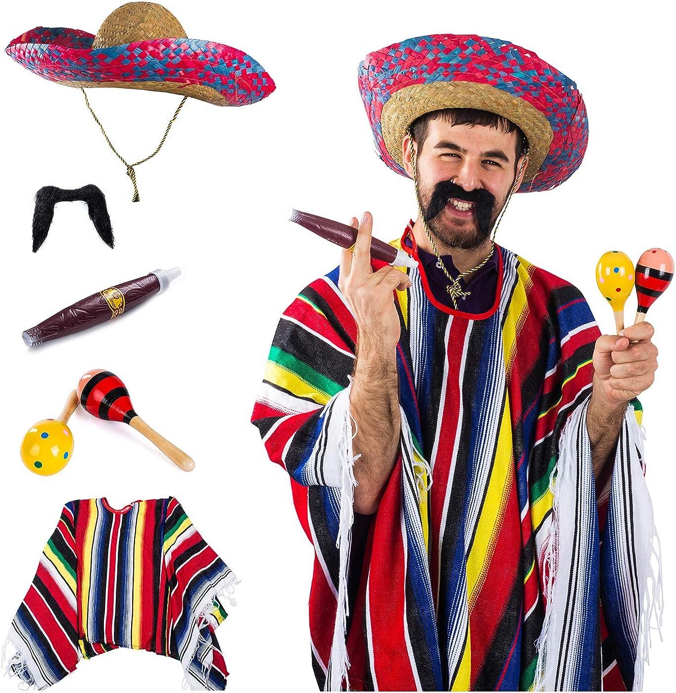 Tigerdoe Mexican Costume - Sombrero, Serape Poncho, Cigar, Mustaches, Maraca - Mexican Fiesta