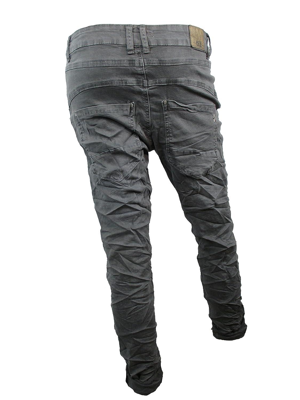 Denim Stretch Baggy-Boyfriend-Jeans boyfriend 4 Knöpfe offene Knopfleiste  weitere Farben (2XL-44, Dunkel Grau): Amazon.de: Bekleidung