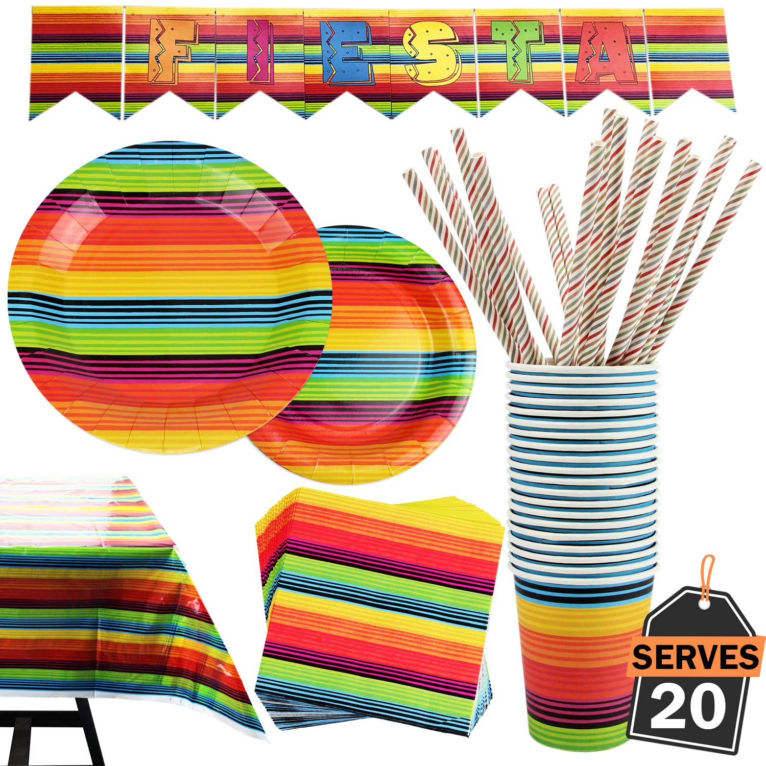 102 Piece Fiesta Party Supplies Set Including Banner, Plates, Cups, Napkins, Tablecloth, Straws, Serves 20 by Scale Rank