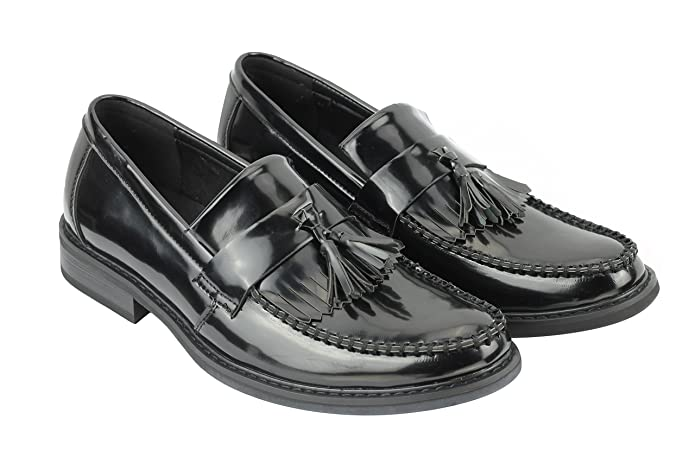 Men's 1950s Shoes Styles- Classics to Saddles to Rockabilly Xposed Mens Vintage Polished Patent Leather Tassel Loafers Retro MOD Shoes in Oxblood Black £38.09 AT vintagedancer.com