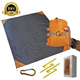 TheCozy Sand Free Compact Beach Blanket - Pocket Picnic Sheet For Outdoor Multiple Use | Best Mat For Travel & Festivals, Soft & Quick Drying With 4 Portable Hiking Sticks