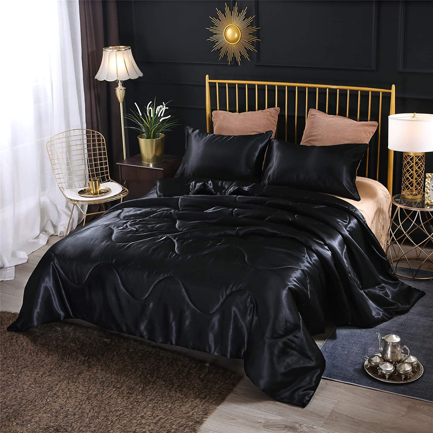 A Nice Night Satin Silky Soft Quilt Sexy Luxury Super Soft Microfiber Bedding Comforter Set Full/Queen, Light Weighted (Black, Queen