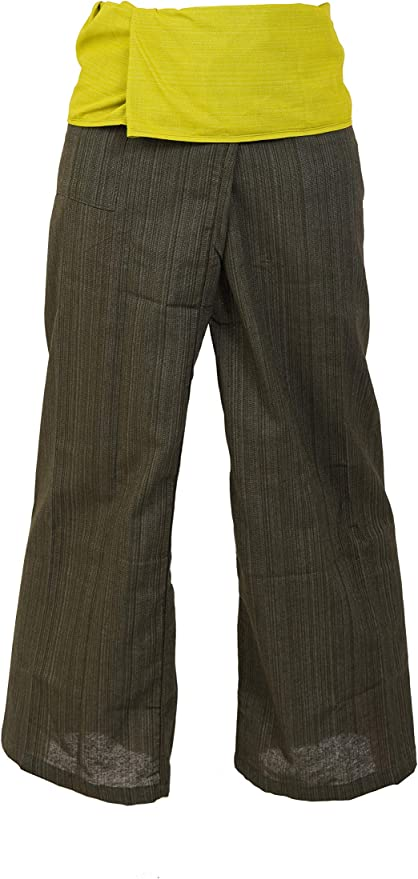 2 TONE Thai Fisherman Pants Yoga Trousers FREE SIZE Plus Size Cotton Drill Charcoal and Rustic Red Stripe