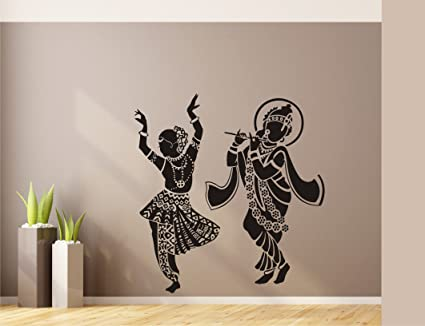 Buy Heaven Decors Beautiful Radha Krishna Wall Sticker and Wallpaper (Vinyl, 59 x 62 cm, Black) Online at Low Prices in India - Amazon.in