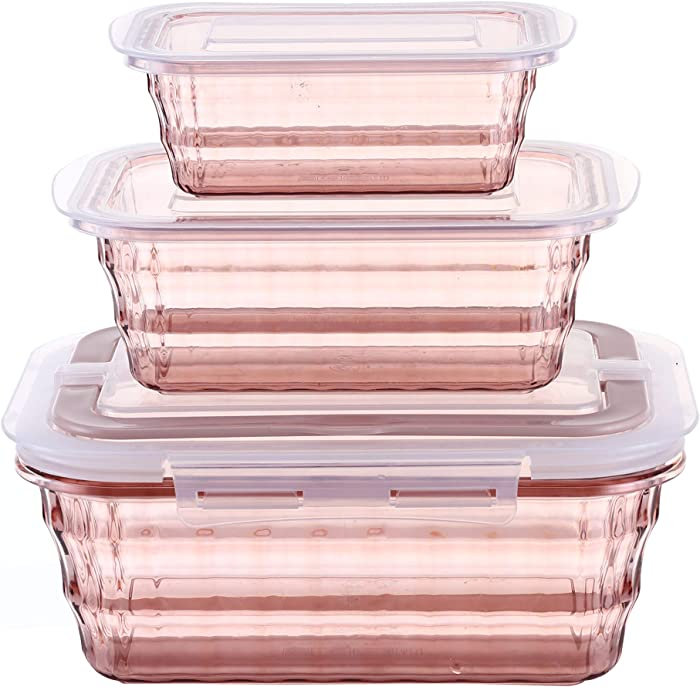 Traditional Homes Premium Plastic Food Storage Containers with Lids - Meal Prep Containers (3 Pack) [65 Oz, 32 Oz, 16 Oz] - Lunch containers - Kitchen storage - Lunch boxes
