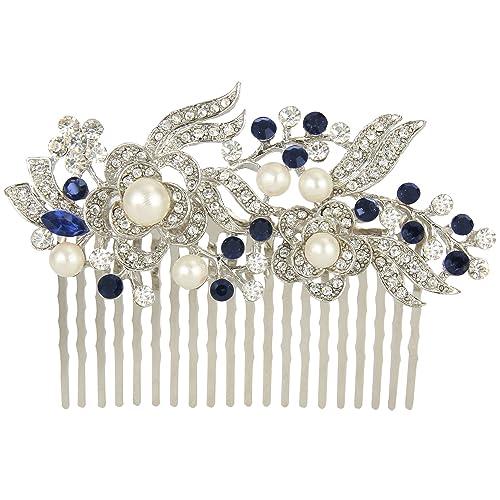 EVER FAITH® - Cristal Gatsby Inspirado Color Marfil Perla Simulada Peineta de Pelo - Azul