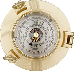 Justime 6 Inch Brass Porthole Barometer, Nautical Wall Hanging Décor SBM-06-3-44L
