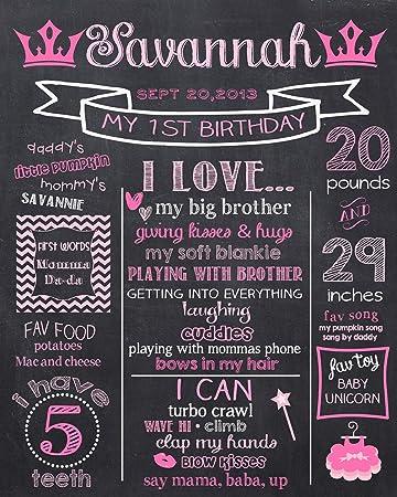 Dozili Personalized Princess First Birthday Chalkboard Style - Princess 1st Birthday Chalkboard Style