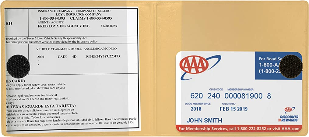 Premium Quality Automobile Essential Documents Wallet Deluxe Car Insurance and Registration Card Holder Beige