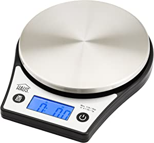 Haus Digital Kitchen Food Scale Multifunction Stainless Steel Tray, 11 lb (5kg), Black