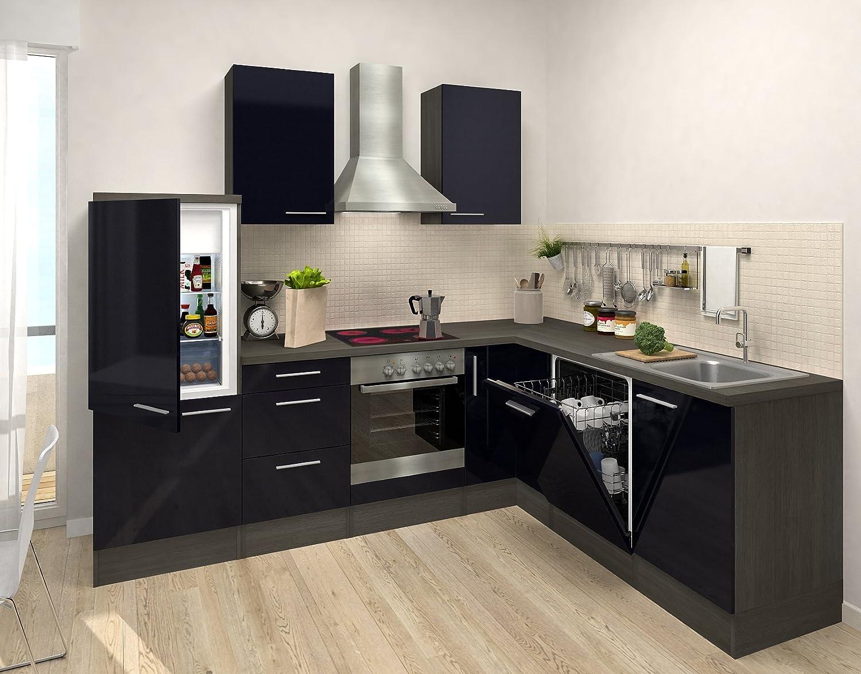 respekta Premium L Cocina Cocina pequeña Cocina amueblada y Equipada Roble Negro Bloque DE VACÍO: Amazon.es: Hogar