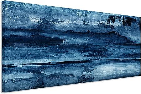 150 X 50 Cm Couleur Bleu Pétrole Panorama Image Tableau Sur Toile Murale En Très Grande Qualité Peinture Acrylique Abstrait I
