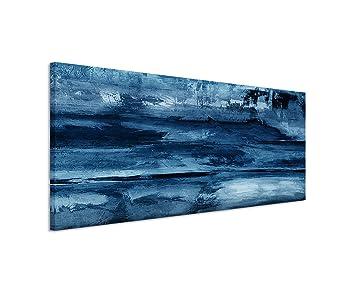 150 X 50 Cm Couleur Bleu Pétrole Panorama Image Tableau Sur Toile