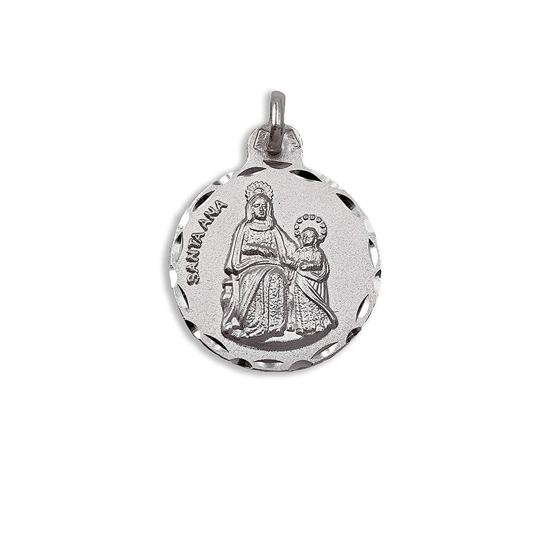 Plata de Ley 925 mil/ésimas. Medalla Santa Ana 21 mm Medalla Religiosa