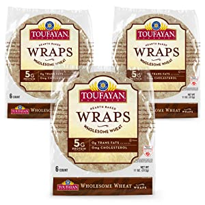 Toufayan Bakery, Whole Wheat Wraps for Sandwiches, Tortillas, Burritos and Snacks, Naturally Vegan, Cholesterol Free and Kosher (Whole Wheat, 3 Pack)