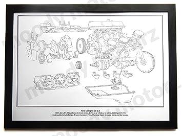 Ford Köln V6 Classic Motor Diagramm Schematische A2 A3 Größe Hand ...