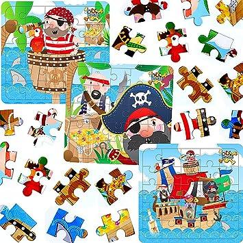 German Trendseller® -24 x Rompecabezas Pirata┃Fiestas Infantiles┃ Idea de Regalo┃piñata┃cumpleaños de niños┃Bolsas Sorpresa┃24 Piezas