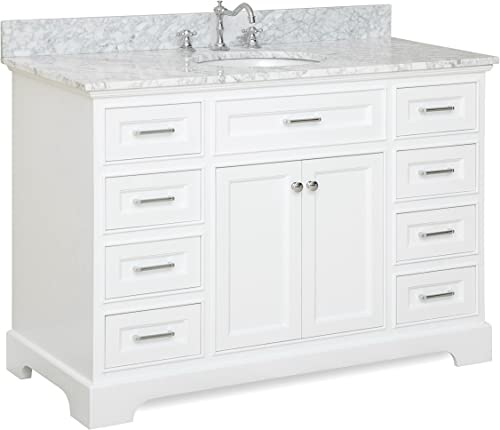 Aria 48-inch Bathroom Vanity Carrara/White : Includes White Cabinet