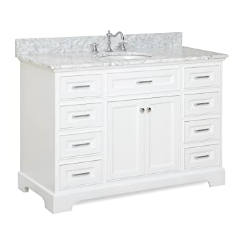 Aria 48u0026quot; Bathroom Vanity (Carrara/White)