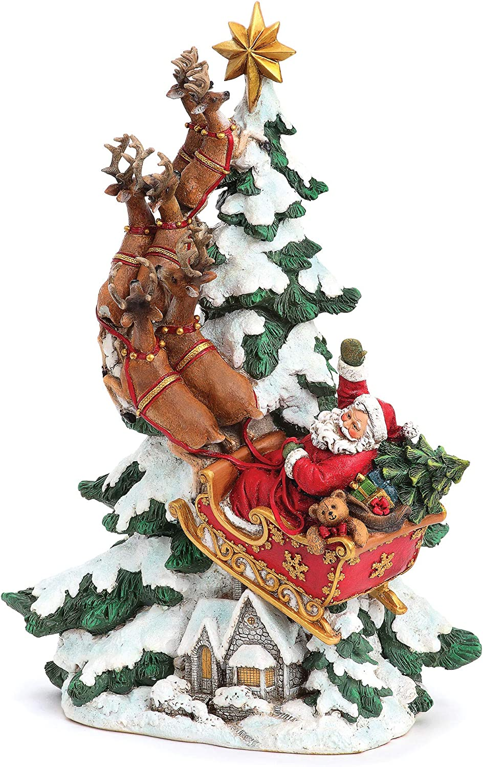 """Joseph's Studio by Roman - Santa in Sleigh with Reindeer Over Village Figure, 15.25"""" H, Resin and Stone, Christmas Decoration, Collection, Durable, Long Lasting"""