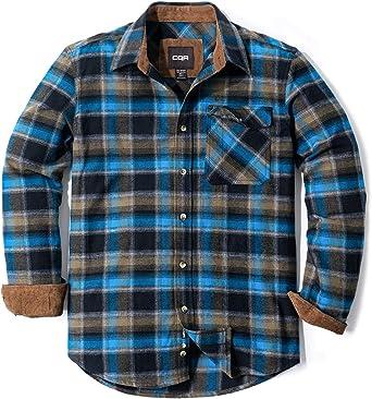 CQR Camisa de manga larga de franela para hombre, cómoda camisa de algodón a cuadros