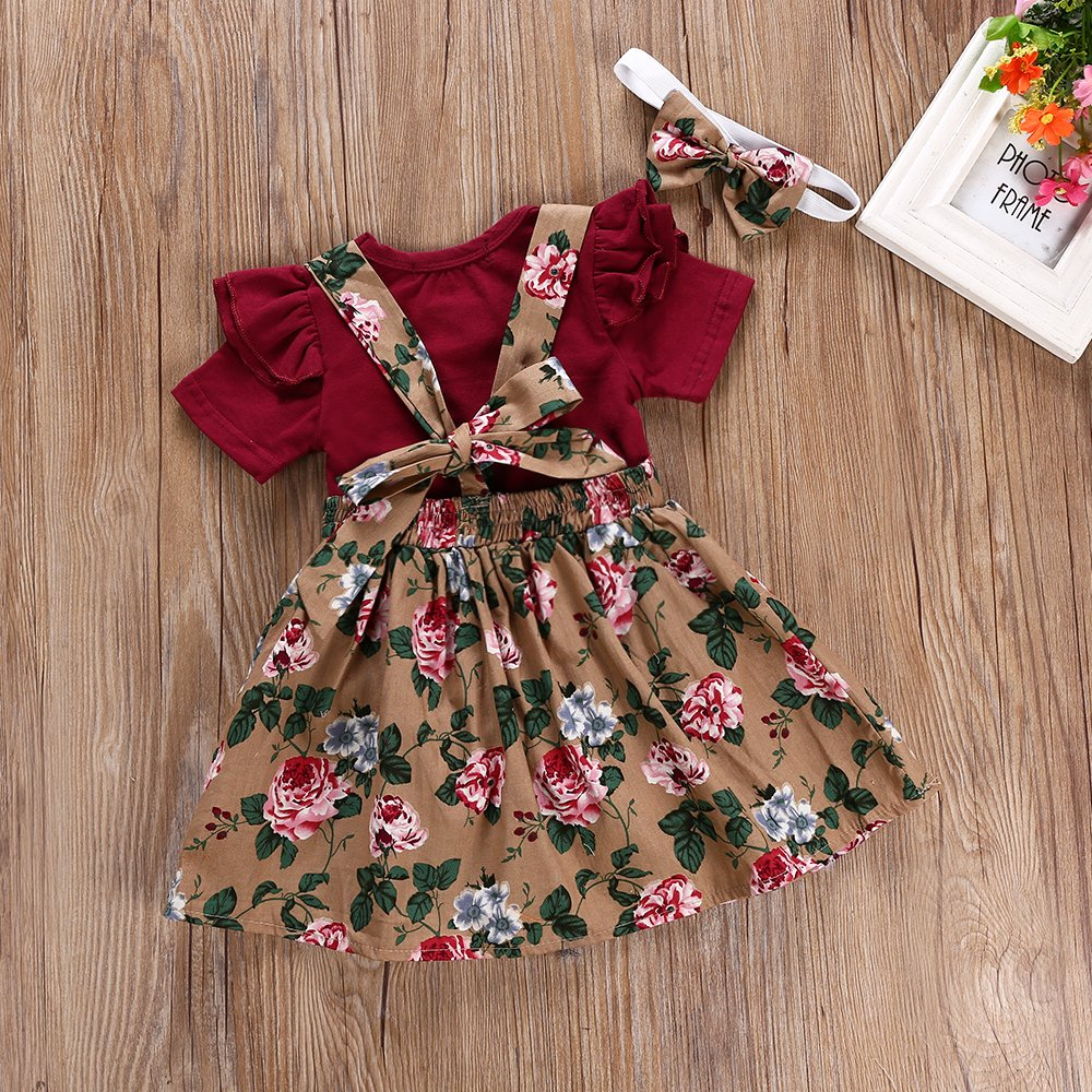 Oklady Baby Girls Clothes Set Newborn Girl Bodysuit Romper Floral Printed Suspender Skirt with Headband Summer Outfits Red 6-12 Months