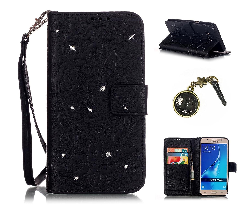PU Cuir Coque Strass Case Etui Coque étui de portefeuille protection Coque Case Cas Cuir Swag Pour (Samsung Galaxy J5 (2016) J510FN 5.2)+ Bouchons de poussière (6LA) Laoke