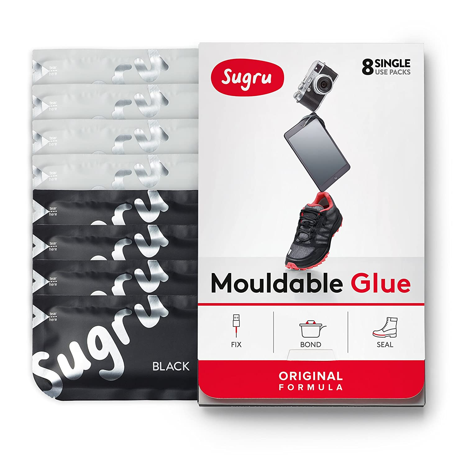 Sugru Moldable Glue   Original Formula   Black & White 8 Pack by Sugru