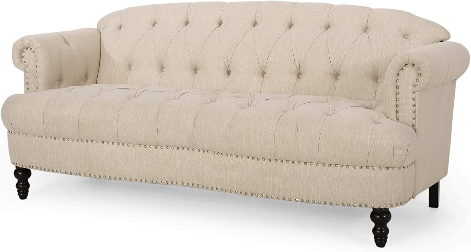 Christopher Knight Home Tracy Contemporary Deep Tufted Sofa with Nailhead Trim, Beige