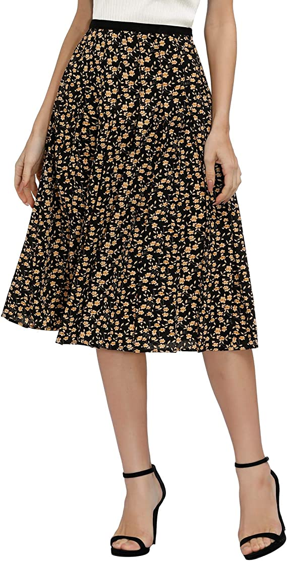 GRACE KARIN Women's Elastic Waist Floral Pleated Flared A-Line Skirt
