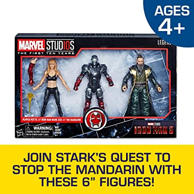 "Hasbro Marvel Legends Series Studios The First Ten Years Iron Man 3 Movie Iron Man Mark Xxii, Pepper Potts, The Mandarin 6"" Figure 3 Pack ( Exclusive): Toys & Games"