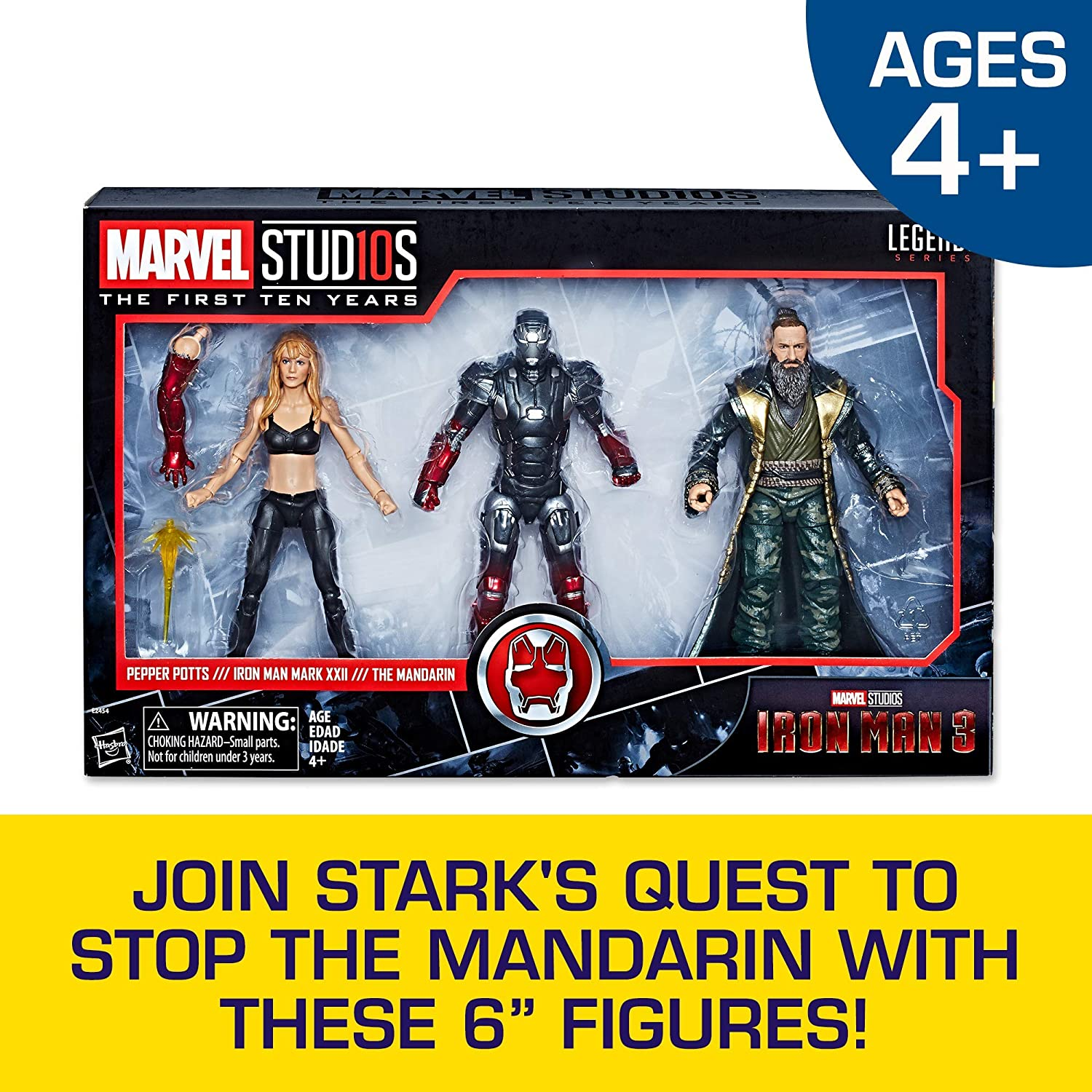 Marvel E2454 Hasbro Legends Series Studios The First Ten Years Iron Man 3 Movie Iron Man Mark XXII, Pepper Potts, The Mandarin 6-inch Figure 3-Pack (MCU), Brown/a (Amazon Exclusive)