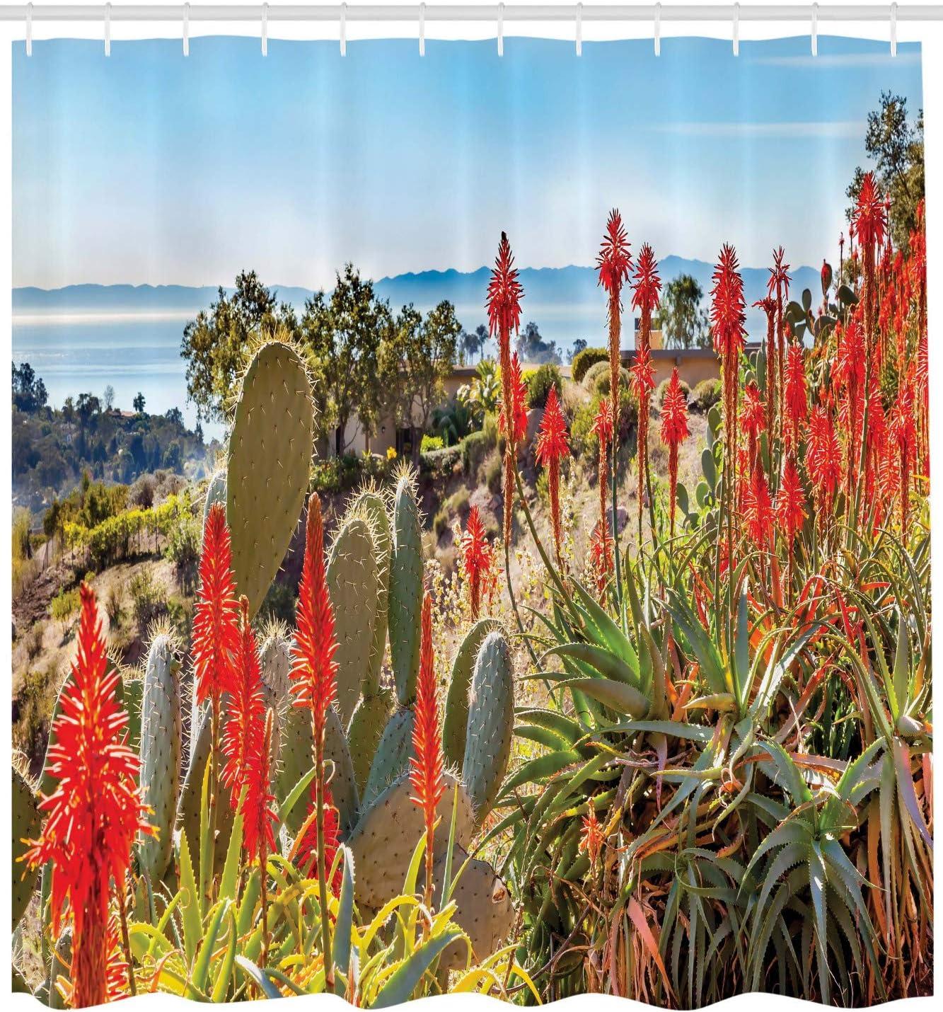175 x 180 cm Desierto Photo Monta/ña Material Resistente al Agua Durable Estampa Digital Multicolor ABAKUHAUS Cactus Cortina de Ba/ño