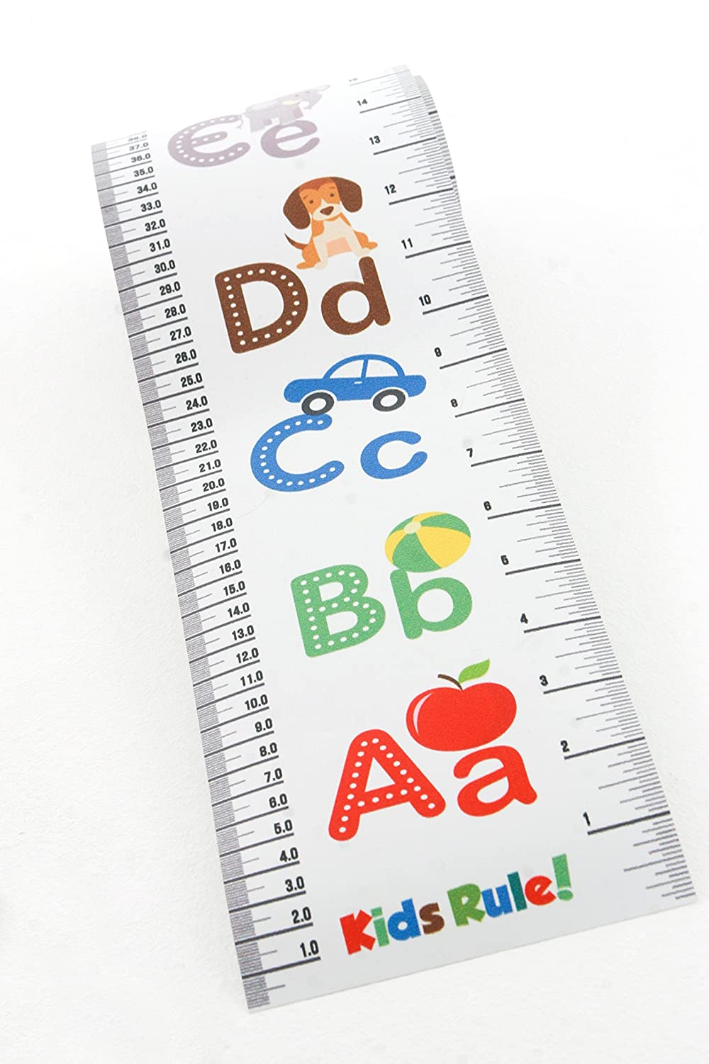 Kids Rule Alphabet Plastic Roll-Up Height Measuring Chart Choice Of 3 Bright Designs Measures From Birth To Adult