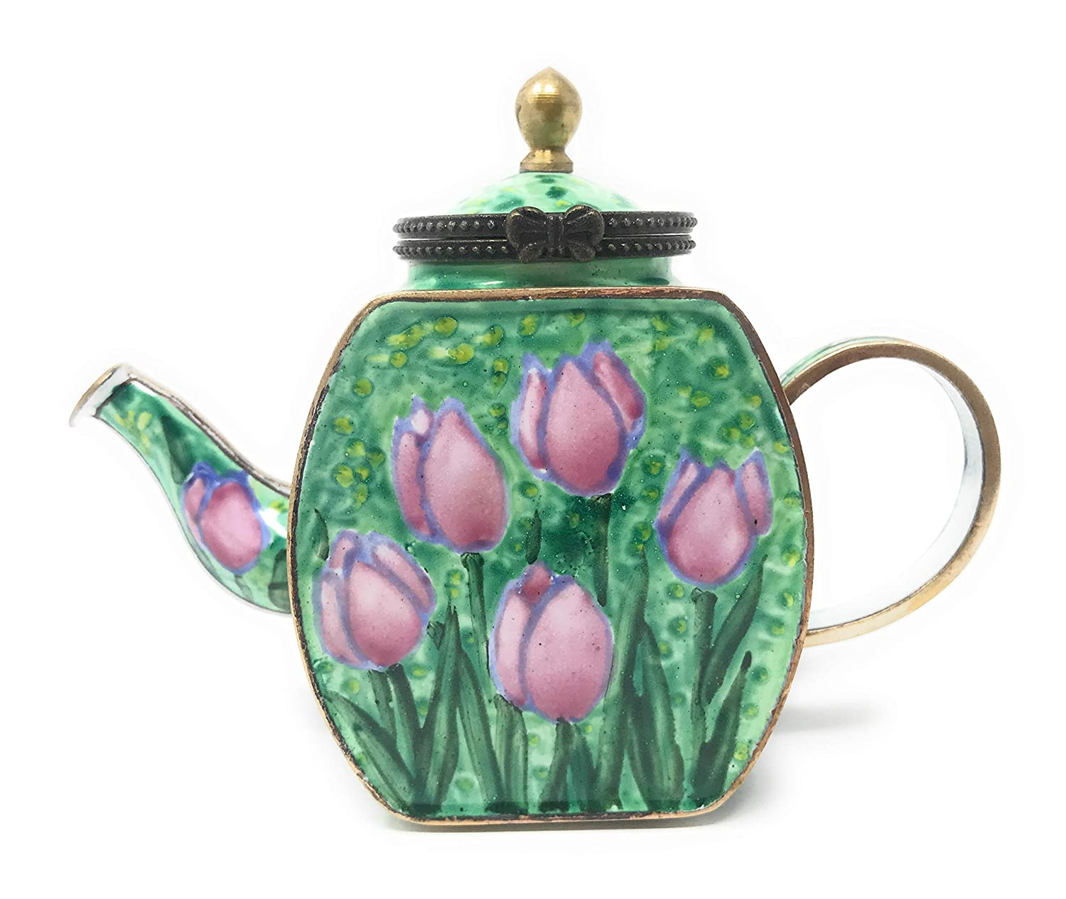 4.25 Inches Long Kelvin Chen Pink Tulips Enameled Miniature Teapot with Hinged Lid