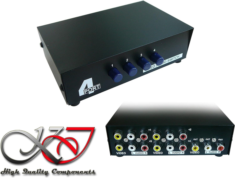 Switch AUDIO Stereo 4 Ports Aiguille une entr/ée vers 4 sorties ou 4 entr/ées vers une sortie VIDEO Composite KALEA-INFORMATIQUE /©