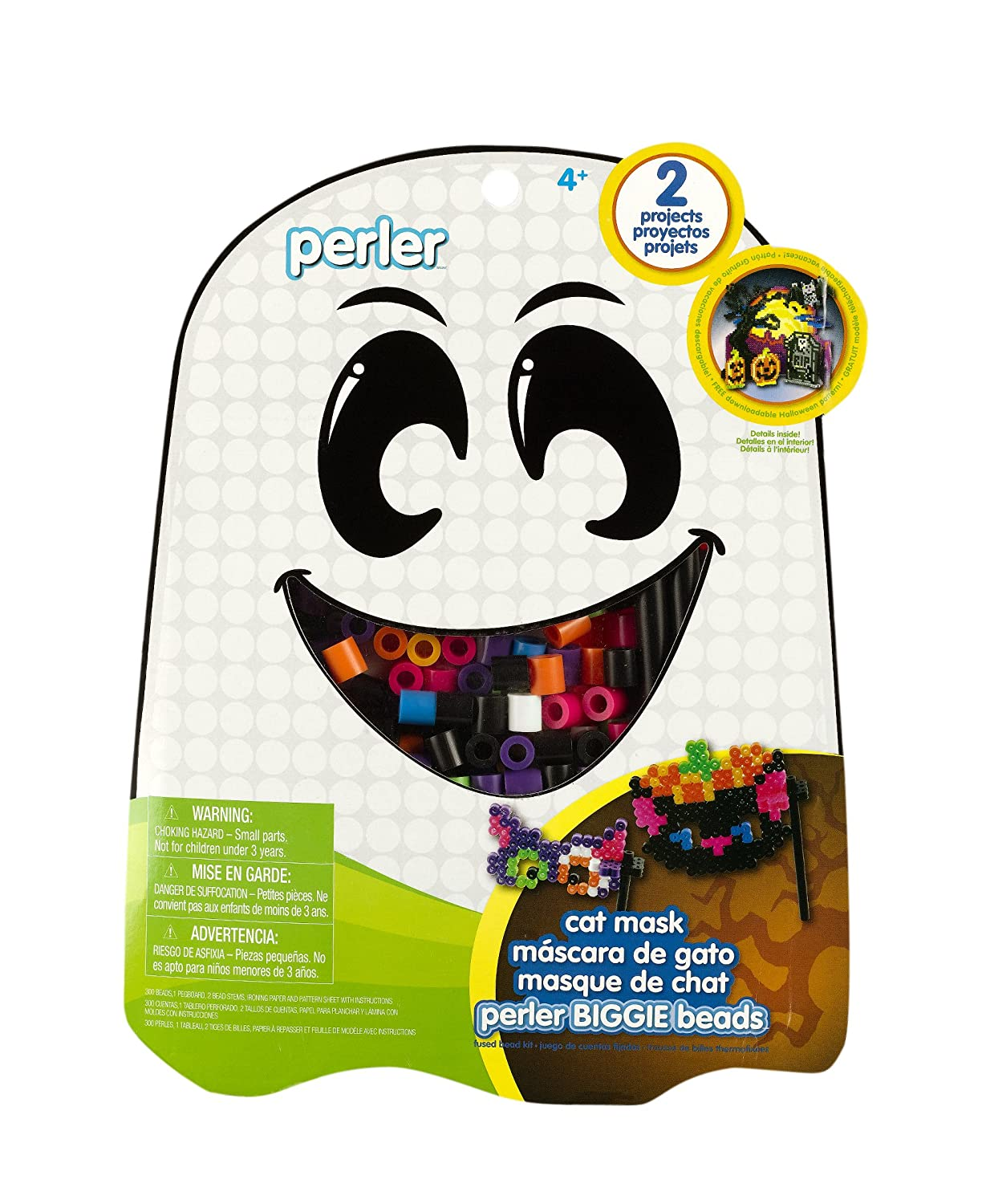 Amazon.com: Perler Beads Cat Mask Biggie Bead Fused Bead Kit: Arts, Crafts & Sewing
