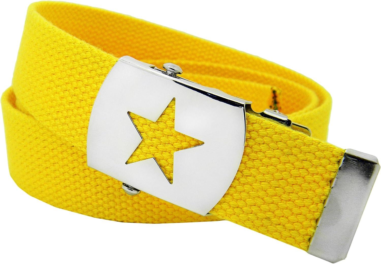 Boys School Uniform Silver Star Slider Military Belt Buckle with Canvas Web Belt Small Gray Black White Stripe