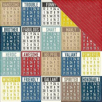 Echo Park Paper Petticoats y Pinstripes Doble Cara cartulina (30,5 cm x 12-Inch-Boy Bingo Tarjetas (Pack de 25 ...