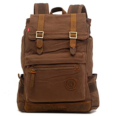 EcoCity Vintage Canvas Travel Laptop Rucksack Backpack School Bookbags  BP0056C2 (Coffee) 1c437005d4