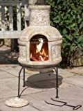 Clay Chimnea With BBQ Grill - Terracotta - 75cm Tall Includes Steel Stand And Lid Ideal For Campfire Cooking